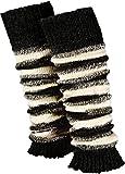Piarini 1 Paar geringelte Stulpen Damen | warme Bein-Stulpen in Strick | Wolle in One-Size Schwarz-Weiß