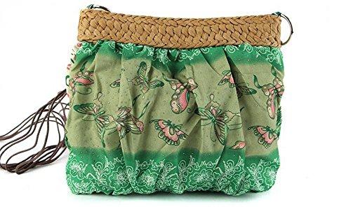 Crossbody Strohbeutel Stickerei Stitching Handtaschen Farbe Outdoor gewebte Frauen Strick Tasche Freizeit Reise Strandtasche , green