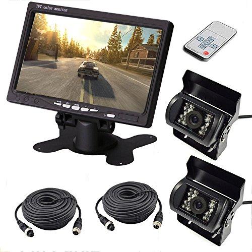 2 x 18 LED IR CCD Rückfahrkamera 4Pin Waterproof Rückansicht Kamera + 7