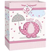Unique Party 41679 - Large Pink Elephant Baby Shower Gift Bag