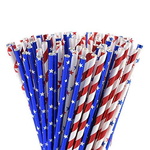 ALINK Biologisch abbaubare Papier-Strohhalme mit Sternenstreifen, für Patriotische/Baseball-Themen-Dekorationen, Unabhängigkeitstag, Geburtstagsparty, Urlaub