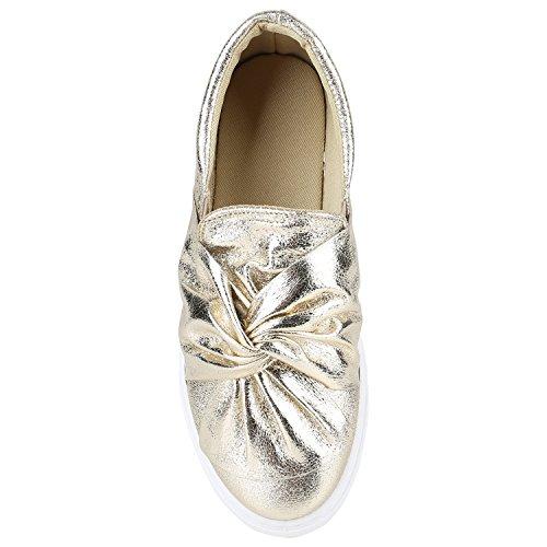 Damen Sneakers Slip-ons Lack Glitzer Metallic Slipper Schuhe Gold Schleife