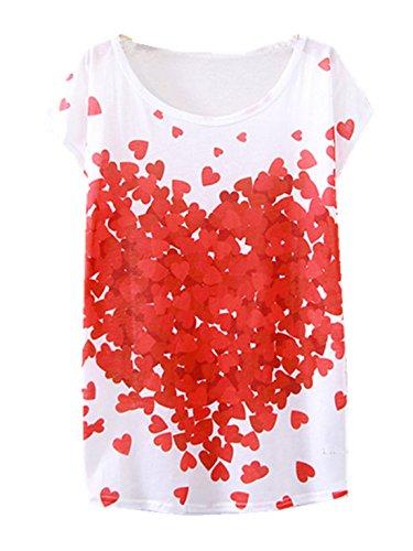 YICHUN Damen T-Shirt Mehrfarbig mehrfarbig One size Cœur 14#