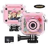BlumWay BlumWay 1080P Digital Kamera für Kinder, HD 12MP Wiederaufladbare Kinderkamera mit 32G SD-Karte, Wasserdichte Action Kamera Video Camcorder für Indoor Outdoor , Spielzeug und Geschenk für Kinder(Rosa)