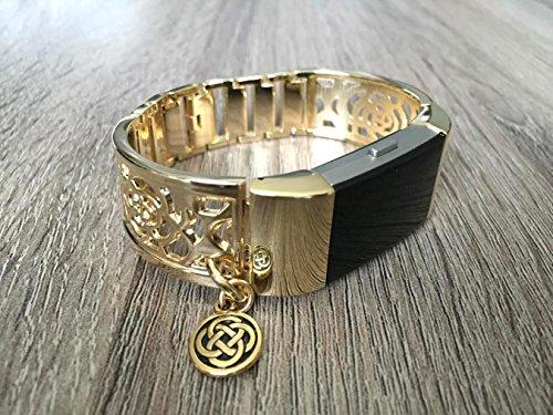 Gold-Band, für Fitbit Laden 2Herzfrequenz Fitness Tracker Blumen Design Jewelry Fitbit Laden 2Armreif mit goldfarbenem keltischem Knoten Charm Armband handgefertigt verstellbar