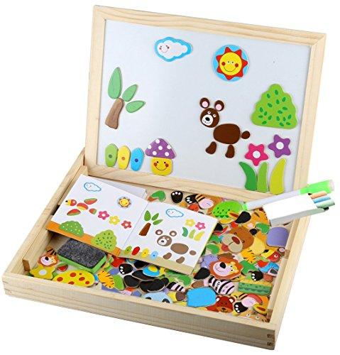 Magnetisches Holzpuzzle ,Tatuer Kinderspielzeug Holzspielzeug Kinderpuzzle 103 Teilen Puzzle mit Doppelseitige Schiefertafel Pädagogische Lernspielzeug Babyspielzeug Geschenk für Kinder Baby Kleinkin