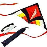 EMMAKITES Super einfach zu fliegen Kite - Rot Miss Sora Rainbow Delta Kite 1.5 Meter Cute Joyful - RTF Kit mit Doppel Kite Tails & 100M Kite String - Nizza Handwerk Ideal für Anfänger Kinder Erwachsene