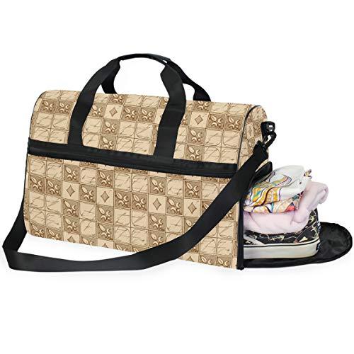 Dallonan Retro Fleur-De-LYS Große Kapazität Reisetasche Gym Bag für Herren Damen mit Schuhfach Sporttasche Gepäcktasche (Fleur Di Lis Gepäck)