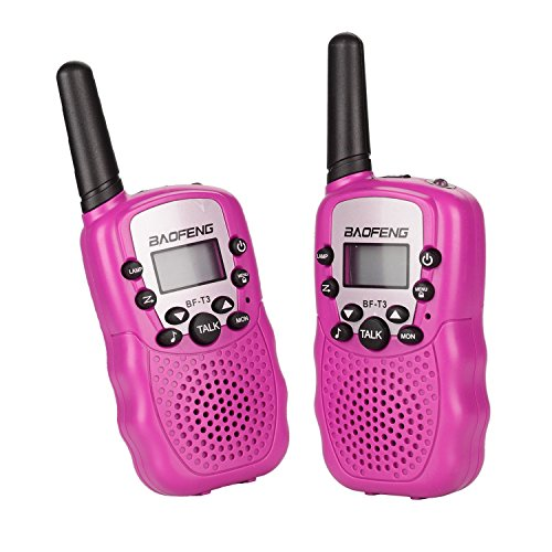 Lospu HY® BaoFeng Mini BF-T3 Walkie Talkie für Kinder UHF VOX 8CH mit LC-Display (1 paar) (Rosa)