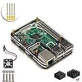 Pour Raspberry Pi 3 Model b Kit , 5 Couche Boitier Case , dissipateur ,Ventilateur (Noir)