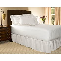 Twin XL White Eyelet Ruffled Bed Skirt - 18 Drop