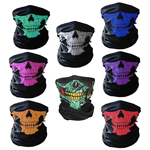 8 Stück Motorrad Totenkopf Maske Sturmmaske Gesichtsmaske Skull Maske für Motorrad Fahrrad Snowboard Skifahren Biking Rave Ski Paintball Party Halloween
