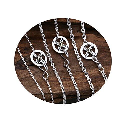 (AmDxD S925 Silber Unisex Halskette Adler Feder Anhänger Buddhismus Herrenkette Silberkette 2mm)