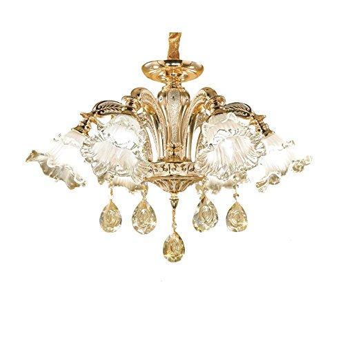Moderne einfache Gold Kristall Drop Licht Fixture LED Beleuchtung Kronleuchter Glas Blume Lampenschirm Kristall Deckenleuchte E14 * 6 D66 * H42cm