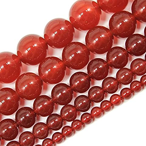 Jartc AAA Naturel Cornaline Agate Rouge profond Courroie Perles rondes 6mm Crystal Energy Pierre pouvoir de guérison pour la confection de bijoux, 2mm