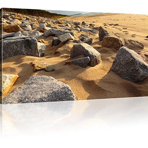 Steine am Strand Leinwanddruck Landschaft Wandbild Sand Bild auf Leinwand