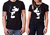 Kiss Mouse King Queen Partner Look Pärchen Valentinstag T-Shirt Set, Größe:M;Partner Shirts:Damen T-Shirt Weiß
