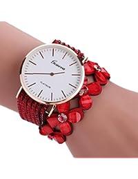 Relojes Pulsera Mujer,Xinan Flores Reloj de Cuarzo Brillante (Rojo)