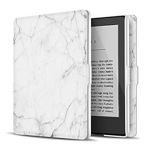 TNP Coque pour Kindle Paperwhite–fin et léger Smart Cover Coque avec mise en veille automatique et réveil pour tout Nouveau Amazon Kindle Paperwhite Compatible avec toutes les versions 2012, 2013, 2015et 2016(Marbre Blanc)