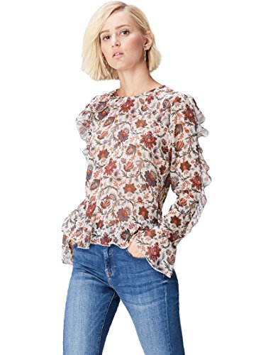 FIND Blusa Estampada de Volantes Mujer, Multicolor (Cream Mix), 40 (Talla del Fabricante: Medium)