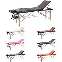 H-ROOT Mesa de Masaje de 3 Secciones Ligera Portátil Camilla de Masaje Mesa Terapeuta Tatoo Salón de Belleza Reiki Sanación Masaje Sueco 13,5 KG (negro)