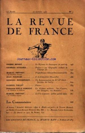 REVUE DE FRANCE (LA) [No 2] du 15/01/1931 - P. BENOIT - LE DEJEUNER DE SOUSCEYRAC - G. DUHAMEL - M. PREVOST - JEAN PSICHARI - G. MONGREDIEN - J. DE CAILLY - G. TALLET - PROF. E.SERGENT - M. PREVOST - JOFFRE - TRISTAN BERNARD APR SEE - L. SCHNEIDER - LA BOURSE PAR MORIN.
