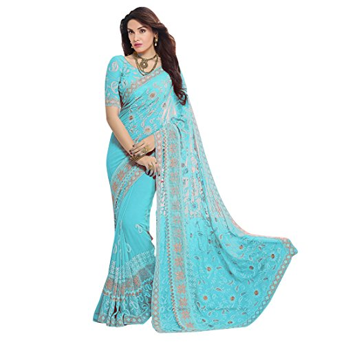 Craftsvilla Chiffon Saree With Blouse Piece (MCRAF78906166300-SkyBlue_Sky Blue_Free Size)