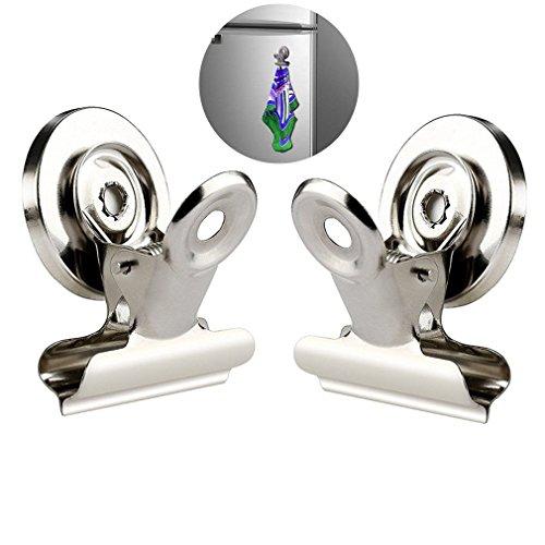 Qiorange Magnetclips Haken Kühlschrank - 2 Stück Super Stark Klammer Halter Kühlschrank Metall Magnet Klammer Kühlschrank Magnetisch Clips für Haus Büro Schule (30mm Silber 2Pcs) (Magnetische Kalender-halter)