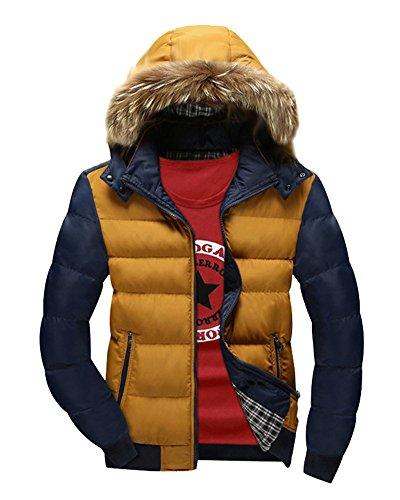 LaoZan Homme Veste Capuche Hiver Fourrure Faux Parka manteau d'hiver veste à capuche Kaki Bleu