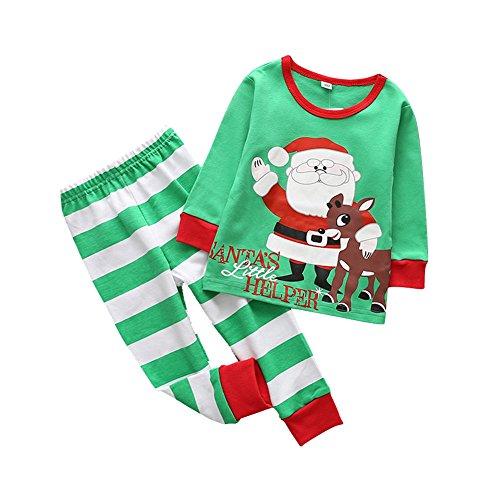 PanDaDa Säugling Kleinkind Baby Boys Girs Weihnachten Nachtwäsche Pyjamas Cartoon Tier gedruckt Langarm Tops + Hosen Outfits (Gir Hoodie)