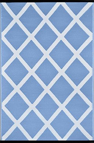 Green Decore Tapis léger réversible d'intérieur/extérieur en plastique, Bleu poudre de diamant/blanc, 120 x 180 cm