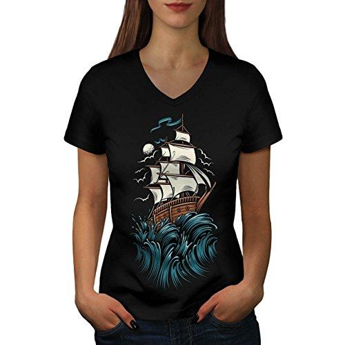 Schiff Wellen Segel Horror Damen M V-Ausschnitt T-shirt | Wellcoda