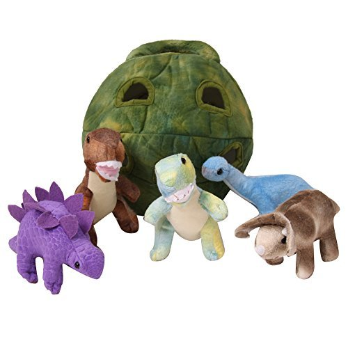 5 Pack Dinosaur Plush Soft Stuffed Animal Playset With Carrying Case