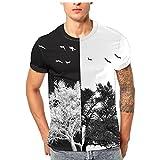 Longra Herren 3D Druck T-Shirts Bunte Print-Shirts Kreativ Muster T-Shirt Tees Tops Jungen Rundhals Regular Fit Shirts Herren T-Shirt Kurzarmshirt Top Casual Basic (M, Black 03)