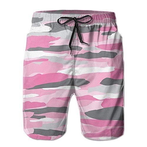 IconSymbol Teen Boys Beach Board Shorts Military Camouflage Cool Camo Pink Athletic Short Pants (Boy Camo Pink Shorts)