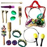 StillCool Kinder Musikinstrumente Set,15 Stück Holz Geschenke für Babys Musik Kinderspielzeug Instrument Toy (15 pcs)