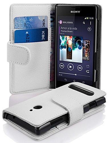 Cadorabo Hülle für Sony Xperia E1 Hülle in Handyhülle mit Kartenfach aus Struktriertem Kunstleder Case Cover Schutzhülle Etui Tasche Book Klapp Style Magnesium Weiß