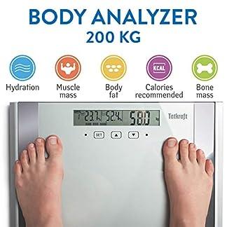 Tatkraft Fitness Báscula Digital Corporal Analizador con Análisis Corporal, Mide el Peso, Grasa Corporal, Porcentaje de Agua, Músculo, Hueso Gran Plataforma y LCD 200KG