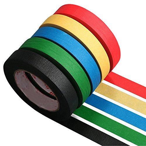 5 Rollen 50m X 10mm Dekoband Masking Tape Dekorative Schwarz Blau Rot Gelb Grün Klebebänder für DIY Wand Collage Mustermodellierung Dekoration Scrapbooking