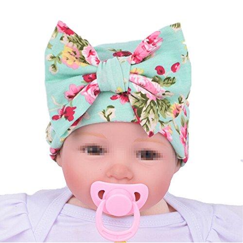Fletion bambino print bowknot berretto di cotone bambino cuffia cappello bambino neonato berretti di cappelli di cotone verde taglia unica
