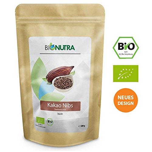 BioNutra Kakao-Nibs Bio 500 g, Kakaostücke, gebrochene Kakaokerne (Criollo Bohnen) aus kontrolliert biologischem Anbau.
