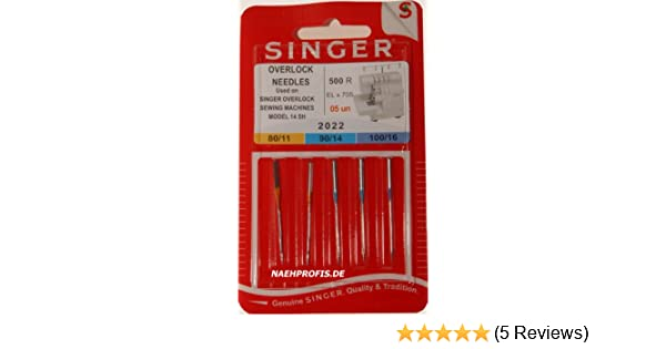 Singer Overlock Needles for Sewing Machine No 2022 ELx705 500R 05un Thickness 80//11 90//14 100//16