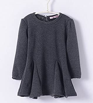 M-g-x Children 'S Clothing Autumn & Winter New Girls Cotton Thick Bow Peng Peng Dress Size 140cm (Gray) 8