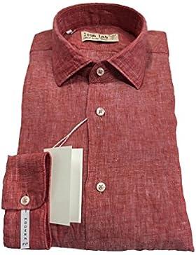 ICON LAB 1961 camicia uomo rosso fiammato manica lunga 100% lino vestibiità slim