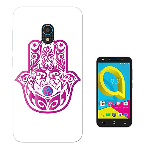 Preisvergleich Produktbild 001895 - Cool Religious Protection Hot Pink Hamsa Hand Good Luck Design alcatel U5 3G Fashion Trend Silikon Hülle Schutzhülle Schutzcase Gel Silicone Hülle