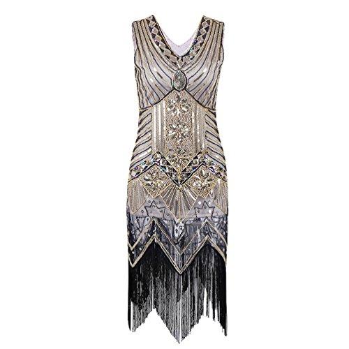 ZKOO Femmes Col V 1920 Art Deco Paillette Frange Robe de Cocktail Or