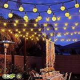 Cookey Guirnalda Solares Led Exterior, Blanco Cálido 40 LED Solar Luces Globo de Burbuja de Hadas LED luz de Bola de Cristal, Luces Decorativas para Árbol de Navidad, Jardín, Patio, Bodas, Terraza, Fiestas [Clase de eficiencia energética A+]