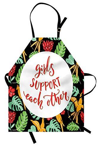 ABAKUHAUS Feminista Delantal de Cocina, Palabras Tema Tropical, Estampa Digital Resistente al Agua Apto Lavadora