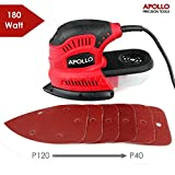 Apollo 180W Palm Detail Mouse Sander Power Tool With Dust Collector & 6 Piece Mixed Velcro Backed Sand Paper Kit