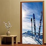 Wandaufkleber nach Hause 3D personalisierte dekorative Tür Aufkleber Schlafzimmer Tür Renovierung, Schnee Berg Ski Wandaufkleber 77 × 200 cm